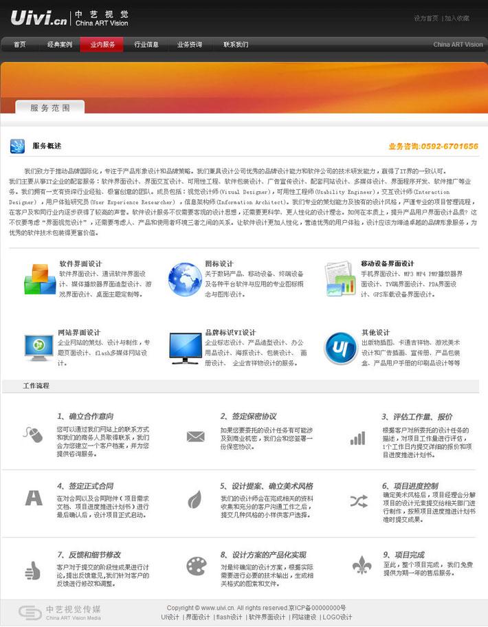 视觉UI设计服务范围页面截图
