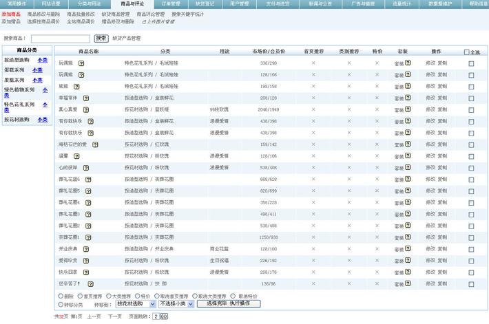 卖花网站后台管理系统