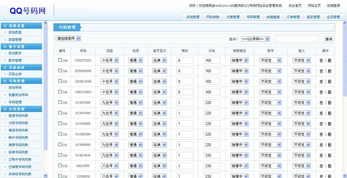 QQ号码交易网管理系统