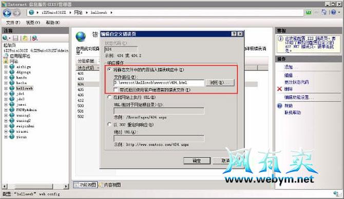 IIS设置404