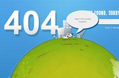 小狗绕地球奔跑的创意404页面