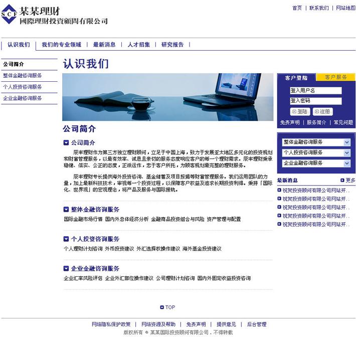 金融咨询顾问公司网站源程序